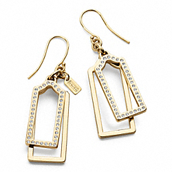 PAVE AND METAL HANGTAG EARRINGS - f96344 - 23930