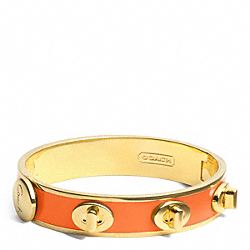 COACH HALF INCH TURNLOCK BANGLE - GOLD/ORANGE - F96352
