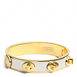 COACH HALF INCH TURNLOCK BANGLE - GOLD/WHITE - F96352