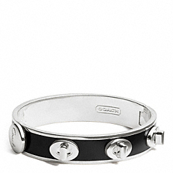 COACH HALF INCH TURNLOCK BANGLE - SILVER/BLACK - F96352