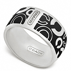 COACH PAVE OP ART RING - SILVER/BLACK - F96377