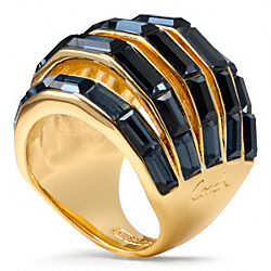 COACH BAGUETTE PIERCED DOMED RING - GOLD/BLUE - F96389