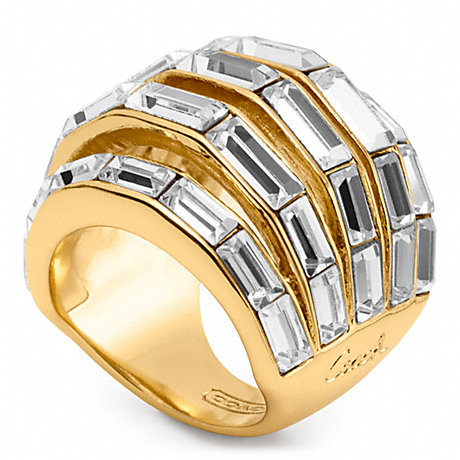 COACH f96389 BAGUETTE PIERCED DOMED RING GOLD/CLEAR
