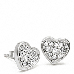 STERLING PAVE HEART EARRINGS COACH F96392