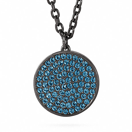 COACH LARGE PAVE DISC PENDANT NECKLACE -  - f96412