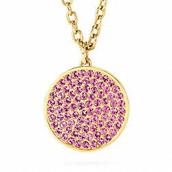 COACH LARGE PAVE DISC PENDANT NECKLACE - ONE COLOR - F96412