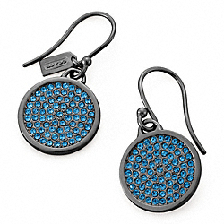COACH PAVE DISC EARRING - BLACK/NAVY - F96413