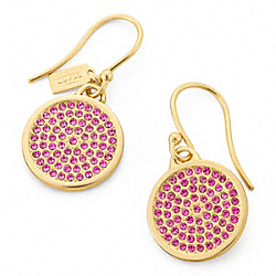 COACH PAVE DISC EARRING - GOLD/MAGENTA - F96413