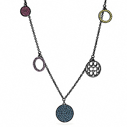 COACH MULTI PAVE DISC STATION NECKLACE - BLACK/MULTICOLOR - F96414