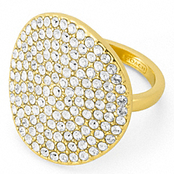 COACH PAVE DISC RING - GOLD/CLEAR - F96415