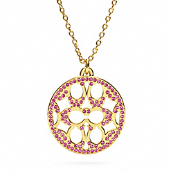 PAVE SIGNATURE DISC NECKLACE - f96417 - 13599