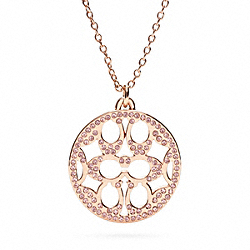 COACH PAVE SIGNATURE DISC NECKLACE - ROSEGOLD/PINK - F96417