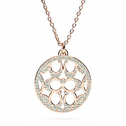 PAVE SIGNATURE DISC NECKLACE COACH F96417