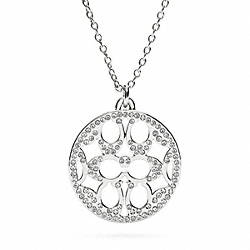 PAVE SIGNATURE DISC NECKLACE - SILVER/CLEAR - COACH F96417