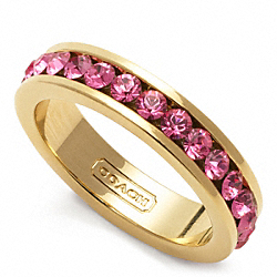 COACH PAVE BAND RING - GOLD/MAGENTA - F96419