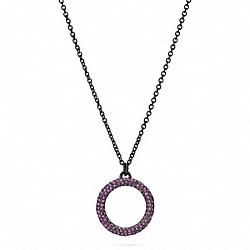 COACH PAVE OPEN CIRCLE PENDANT NECKLACE - BKAME - F96420