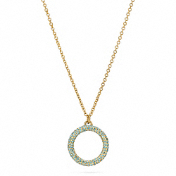 COACH PAVE OPEN CIRCLE PENDANT NECKLACE - GOLD/TURQUOISE - F96420