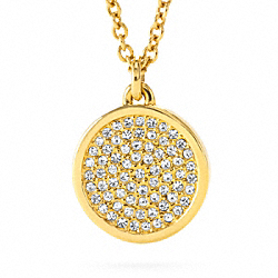 COACH SMALL PAVE DISC PENDANT NECKLACE - GOLD/CLEAR - F96421