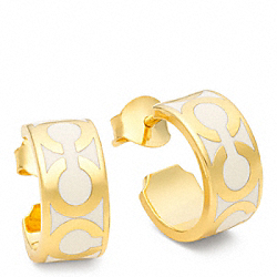 COACH SMALL OP ART HOOP EARRINGS - GOLD/WHITE - F96428
