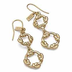 COACH DOUBLE DROP KNOT CIRCLE EARRINGS - ONE COLOR - F96430