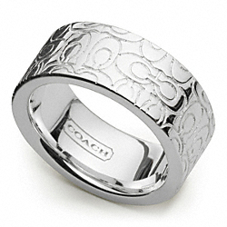 COACH STERLING SIGNATURE BAND RING - ONE COLOR - F96438