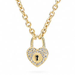 PAVE LOCK HEART NECKLACE - f96507 - 24775