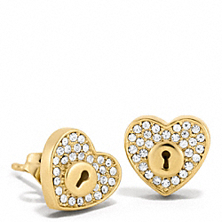 COACH PAVE LOCK HEART STUD EARRINGS - ONE COLOR - F96527