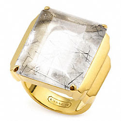 DECO COCKTAIL RING - GOLD/GRAY - COACH F96531