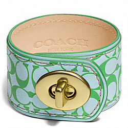COACH SIGNATURE C LEATHER TURNLOCK BRACELET - BRASS/BLUE - F96539