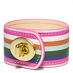 COACH LEGACY STRIPE LEATHER TURNLOCK BRACELET - ONE COLOR - F96546