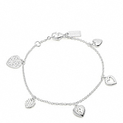 STERLING MULTI HEART CHARM BRACELET COACH F96550