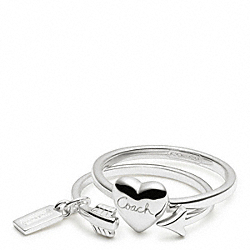 COACH STERLING HEART AND ARROW RING SET - ONE COLOR - F96553