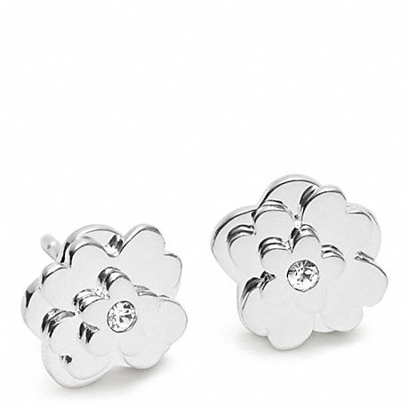 COACH STERLING POPPY FLOWER STUD EARRING -  - f96556