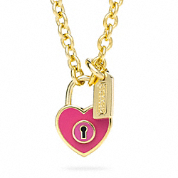 ENAMEL PADLOCK HEART NECKLACE - f96565 - GOLD/PINK