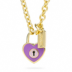ENAMEL PADLOCK HEART NECKLACE COACH F96565