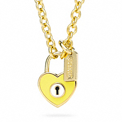 ENAMEL PADLOCK HEART NECKLACE - f96565 - GOLD/YELLOW
