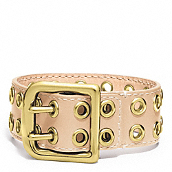 GROMMET BUCKLE BRACELET - f96569 - BRASS/NATURAL