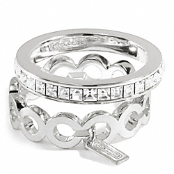 COACH STERLING OP ART BAGUETTE STACKING RINGS - ONE COLOR - F96574