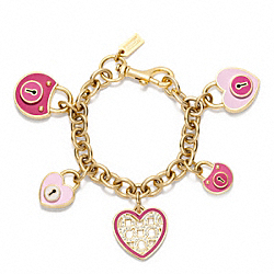 COACH ENAMEL PADLOCK HEART CHARM BRACELET - ONE COLOR - F96575