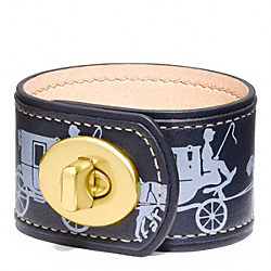 HORSE AND CARRIAGE LEATHER TURNLOCK BRACELET COACH F96577