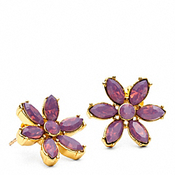 COACH FACETED FLOWER STUD EARRING - GOLD/PURPLE - F96584