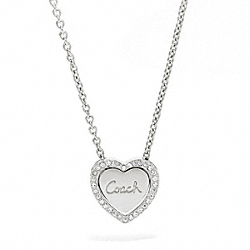 COACH STERLING CONVERTIBLE HEART NECKLACE - ONE COLOR - F96592