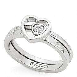 STERLING PAVE STONE HEART RING SET COACH F96614