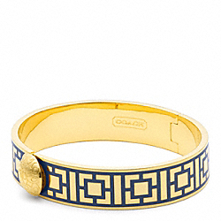 HALF INCH HINGED GEOMETRIC BANGLE - GOLD/NAVY - COACH F96619