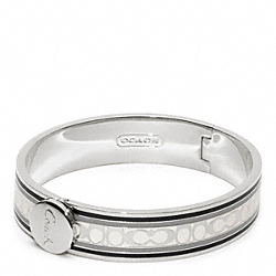 COACH HALF INCH SIGNATURE STRIPE BANGLE - SILVER/BLACK - F96628