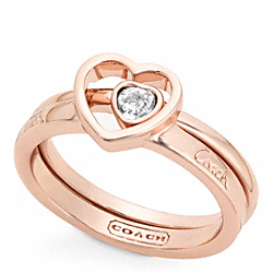 COACH PAVE STONE HEART RING SET - ONE COLOR - F96633