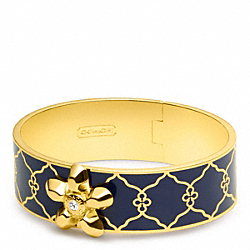 THREE QUARTER INCH HINGED OP ART FLOWER BANGLE - f96643 - 13637