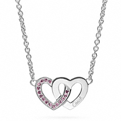 COACH STERLING INTERLOCKING HEART NECKLACE - ONE COLOR - F96669