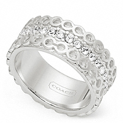 STERLING OP ART PAVE BAND RING COACH F96676