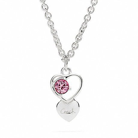 COACH STERLING OPEN HEART STONE NECKLACE -  - f96685
